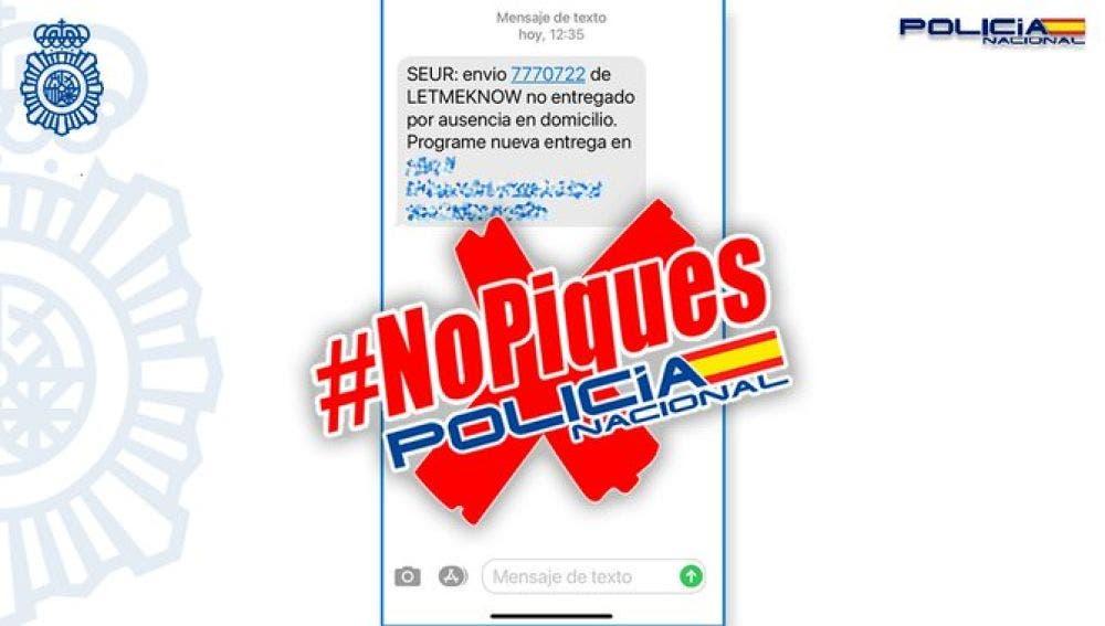 La Policía alerta de una estafa por SMS sobre un falso paquete pendiente de entrega