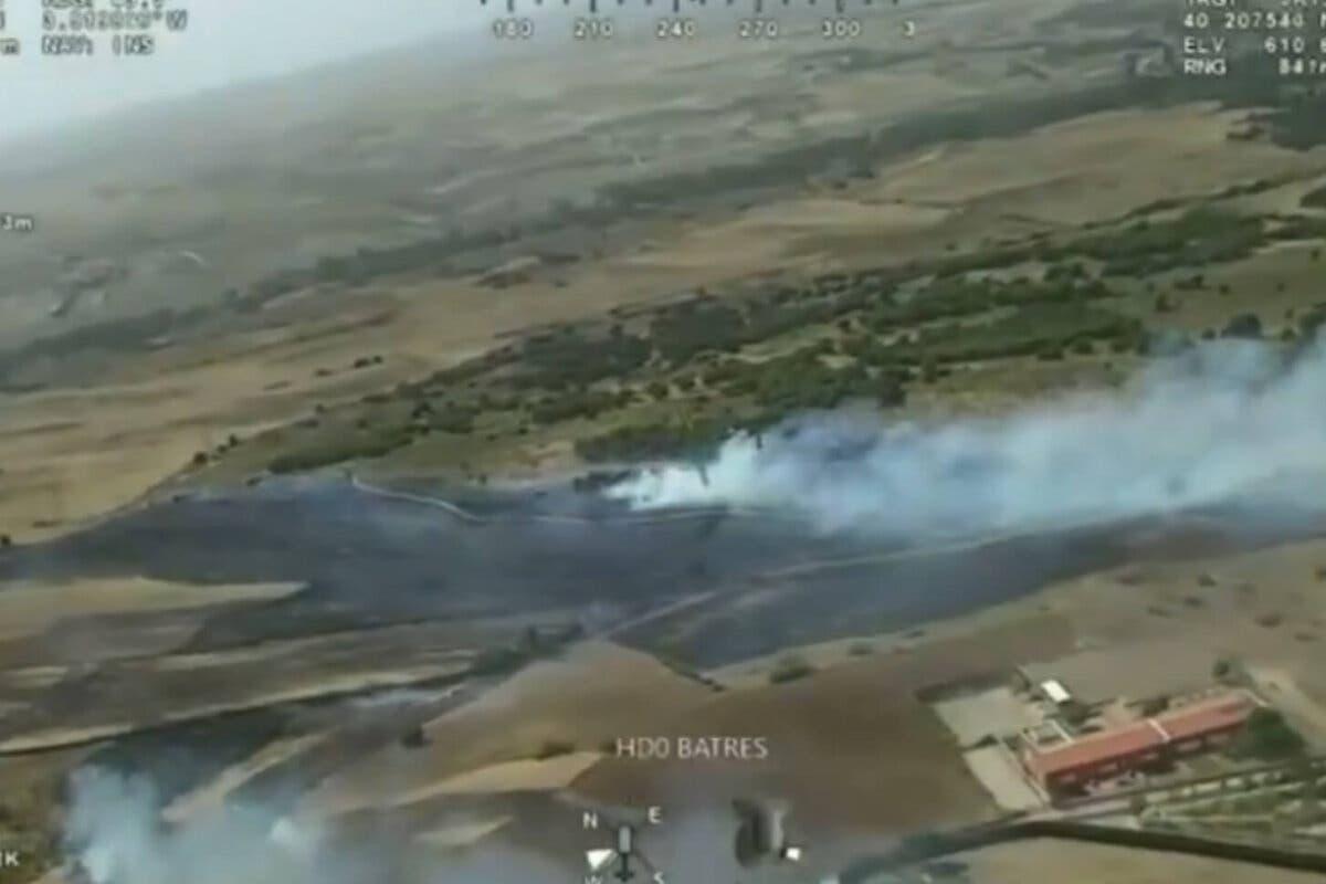 Estabilizado y perimetrado un incendio declarado en Batres que podría quedar controlado este lunes
